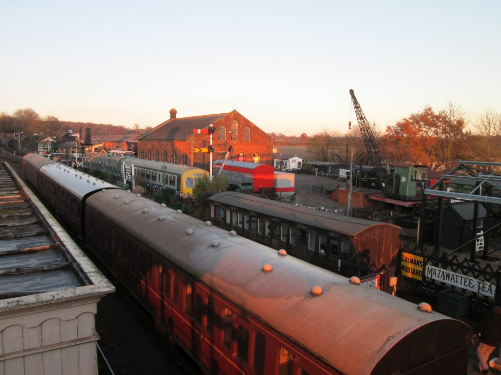 A view of part of the museum site from the station footbridge. The prominent building is the restored goods shed.