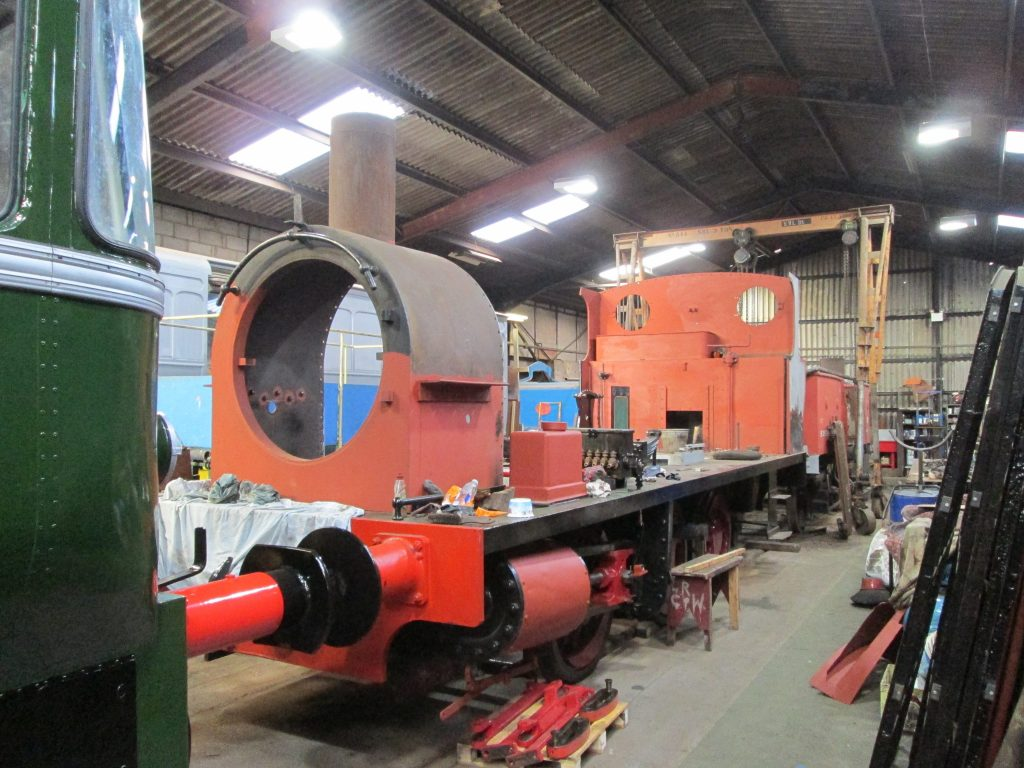An 0-6-0 tank engine under restoration. The boiler was undergoing major repairs elsewhere in the shed.
