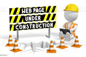 3D web page under construction concept - human character working on a laptop and barricade.